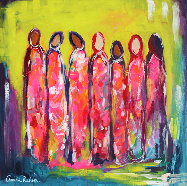 """Sisterly Love"" 24x24"" Original Abstract Figurative Painting"