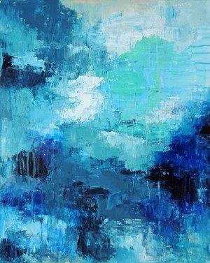 """Deep Blue"" Original Palette Knife Painting"