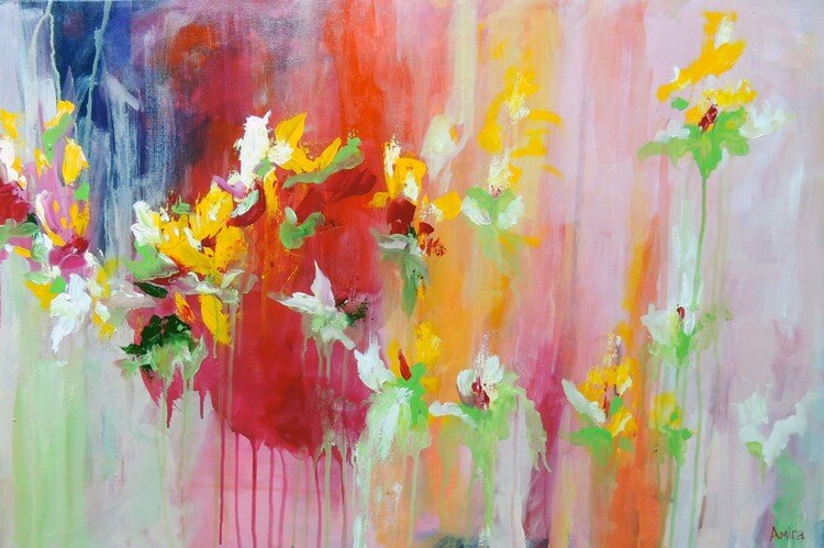 """April Blooms"" Abstract Floral Painting"
