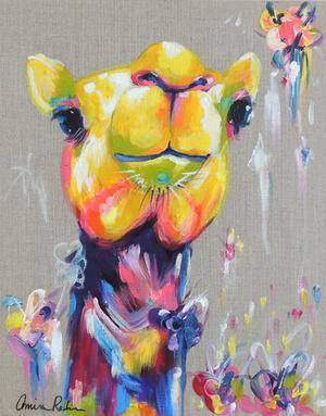 """Yunus"" 12x16"" Camel Painting on Linen"