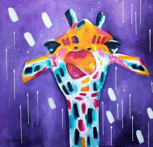 """""""Purple Gino"""" 48x48"""" Abstract Giraffe Painting"""
