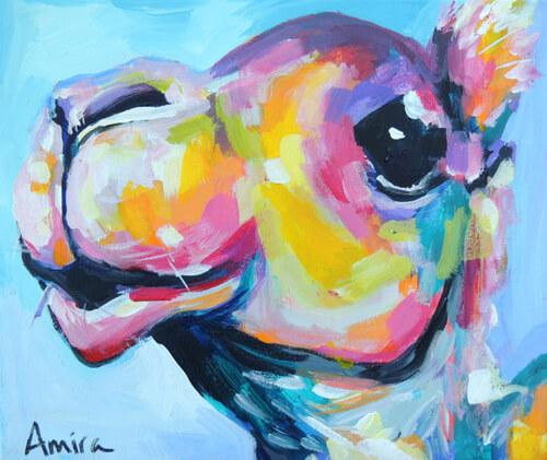 """""""Fauv Camel Mini No.2"""" Original Camel Painting"""