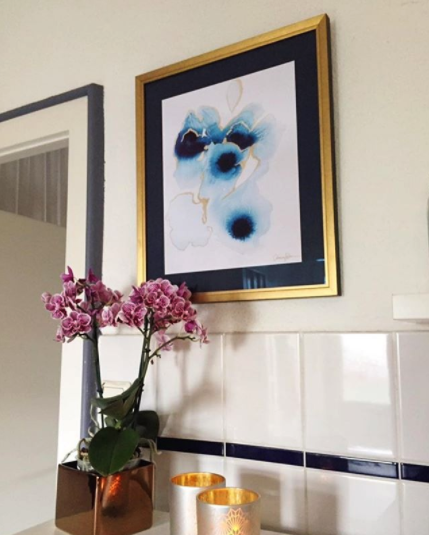 "Love how one collector framed the ""Evil Eye"" print with a custom black mat and modern gold frame. This is divine!"