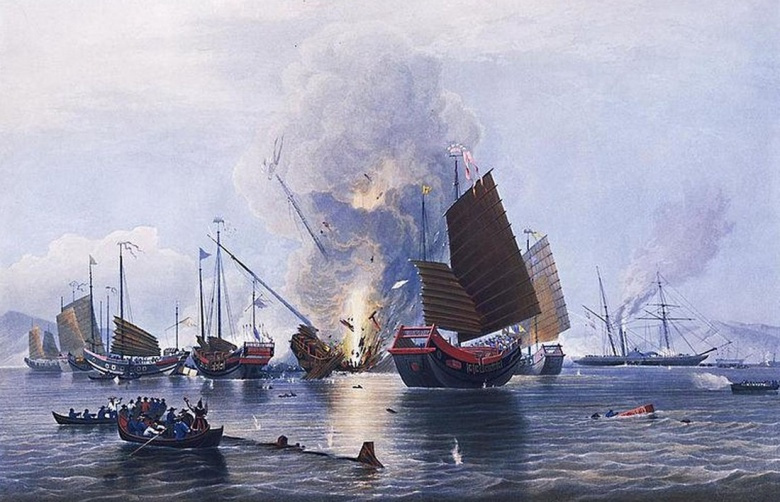 The East India Company iron steam ship Nemesis, commanded by Lieutenant W. H. Hall, with boats from the Sulphur, Calliope, Larne and Starling, destroying the Chinese war junks in Anson's Bay, on 7 January 1841