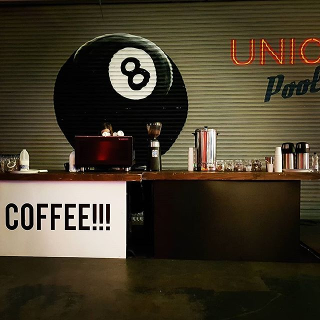 Lucky 8 ball. Lucky delegates! One of two bars serving #specialitycoffee for Jam London conference @streetfeastldn venue Hawker House #mobilecoffee #eventcoffee #hawkerhouse