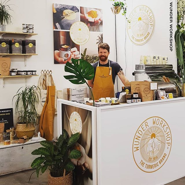 Powering the earthy @wunderworkshop stand, whipping up some silky #turmericlatte for the masses @londoncoffeefestival 😊 They are on our menu ready to be served at your event. Get in touch! #turmeric #goldenmilk @victoriaarduino1905  #lcf18 #lcf2018 #lcf #londoncoffeefestival
