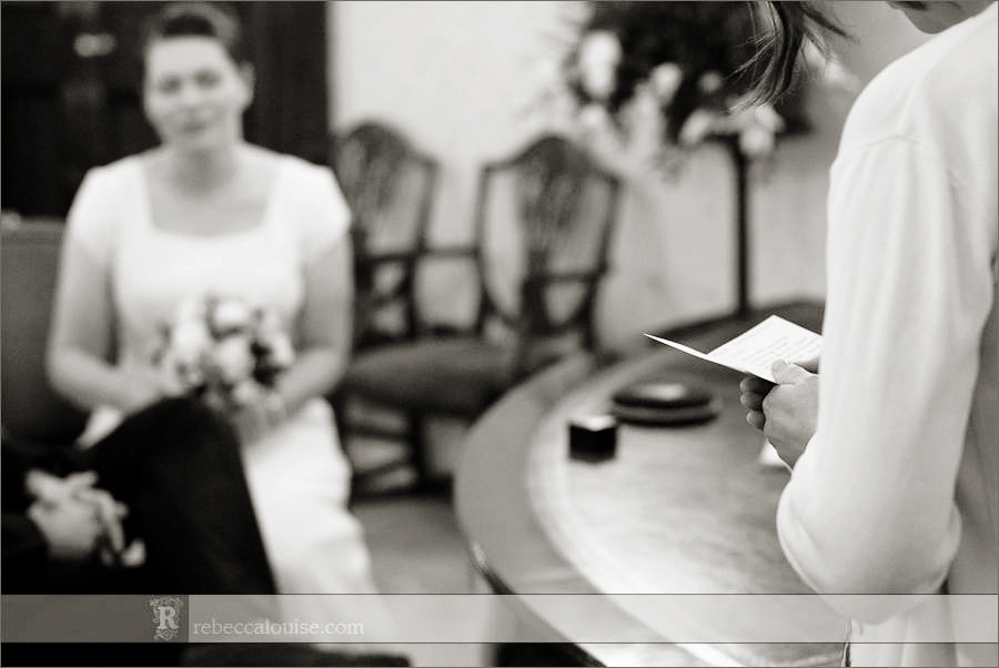 Chelsea civil wedding ceremony reading while bride listens