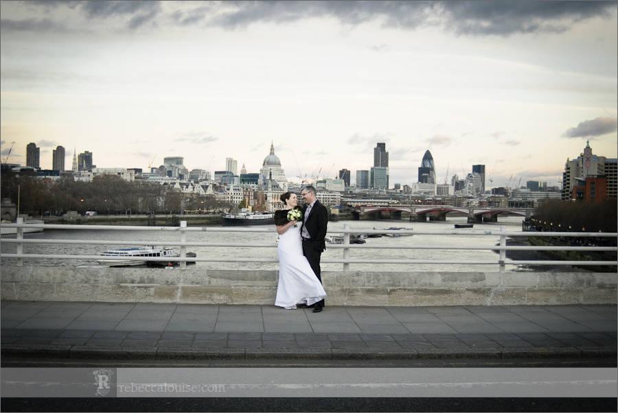 Waterloo Bridge London wedding portraits