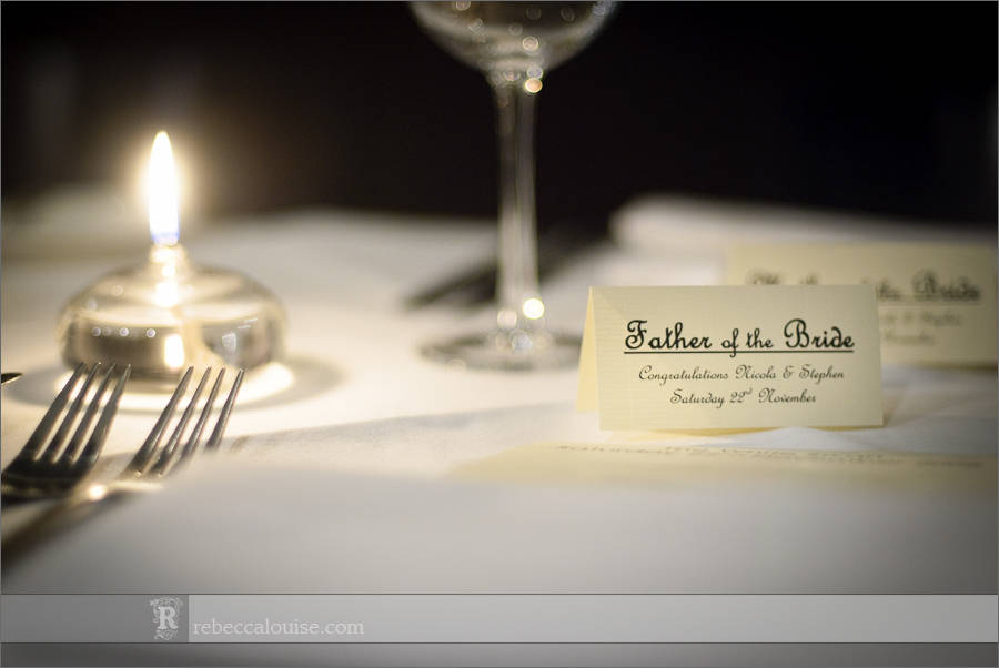 White Swan London wedding table signs