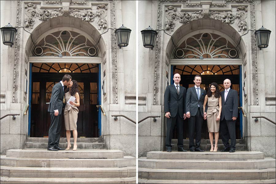 Chelsea Old Town Hall steps wedding photo