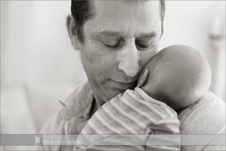 London newborn portrait - baby boy with dad