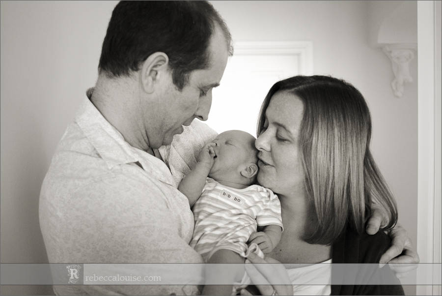 London newborn portrait - baby and parents