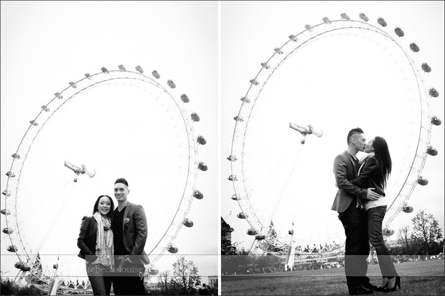 London Eye engagement or pre-wedding portrait shoot near the landmark