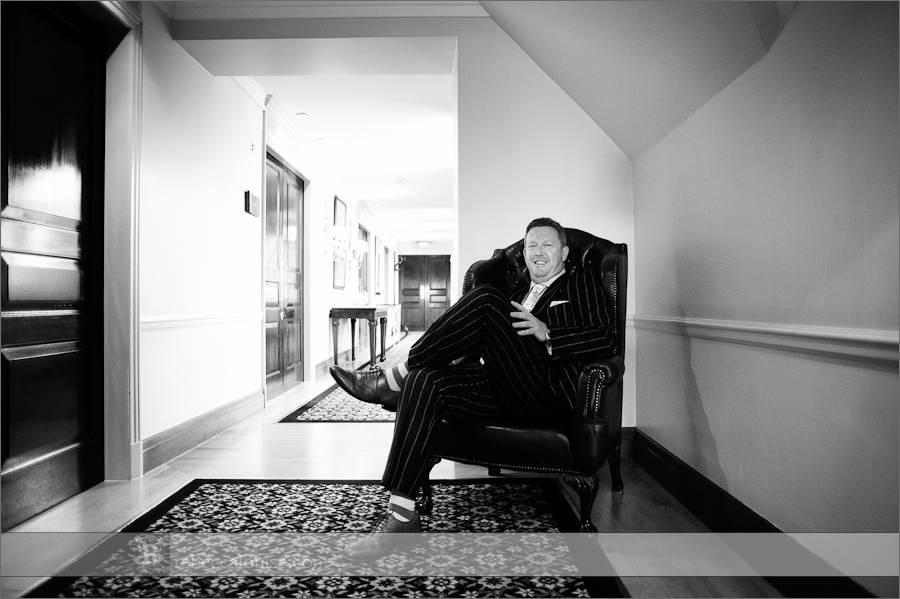 Groom waits for his bride at Claridge's