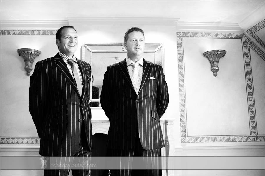 Best man and groom wait for bride at wedding