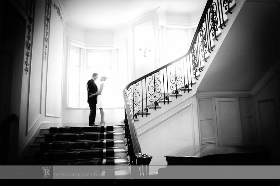 Wedding photographs at Claridge's stairs