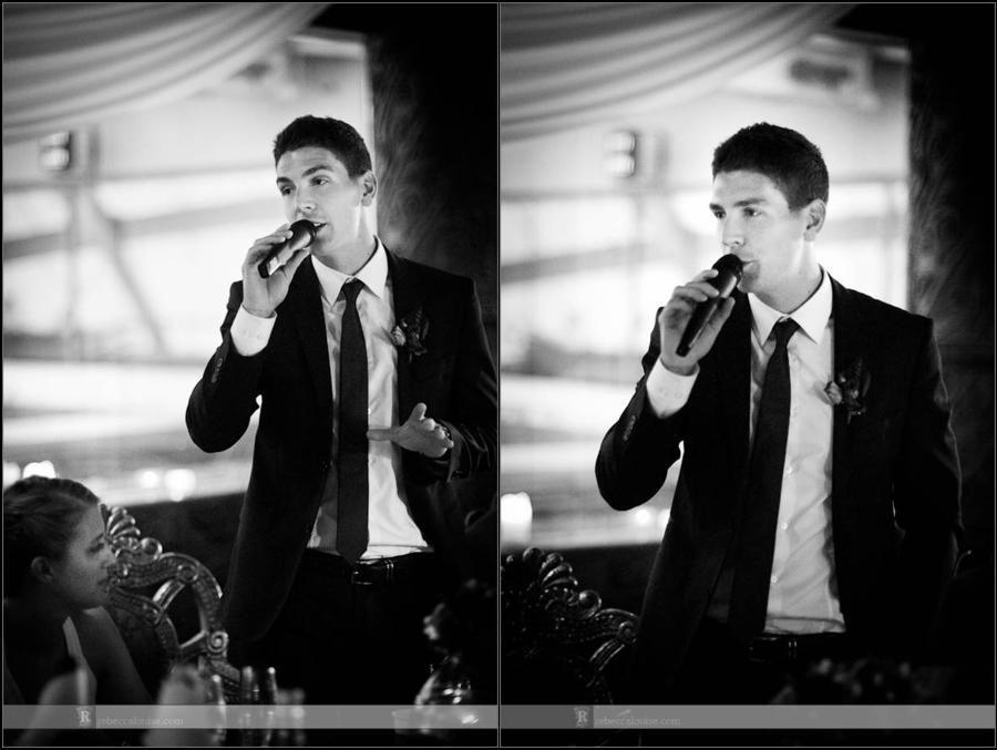 Groom makes speech at wedding party at Gilgamesh