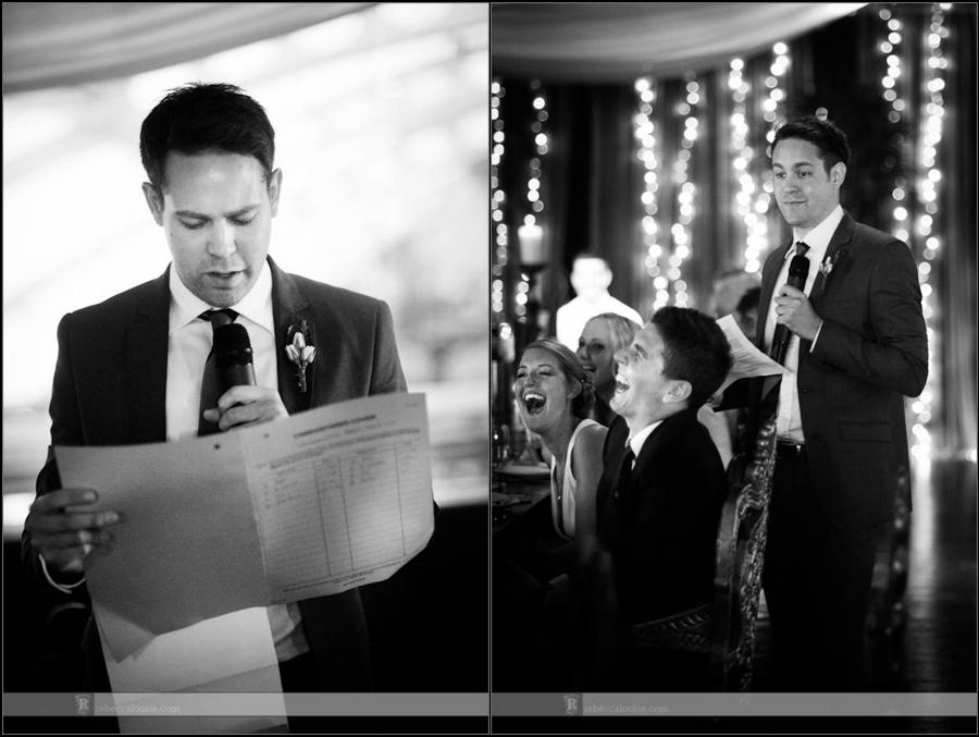 Best man makes speech at wedding party at Gilgamesh