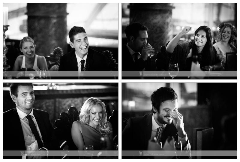 Guests listen to and laugh at speeches at wedding reception at Gilgamesh