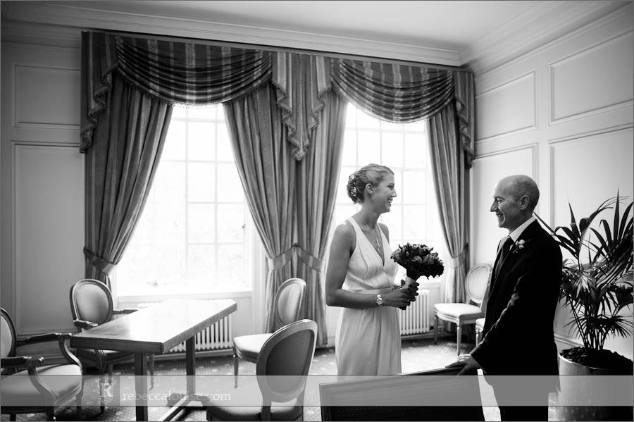 Lord Mayor's waiting room with bride and her father