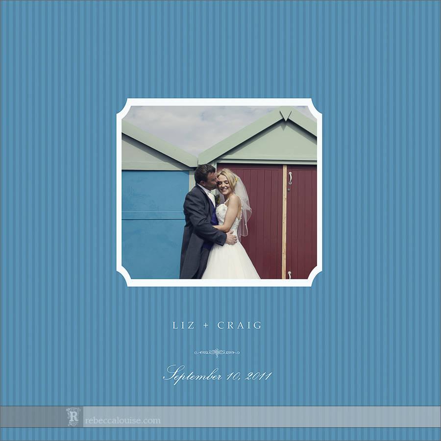 Brighton wedding album cover in beach blue