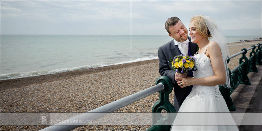 Brighton bride and groom portraits at beach front