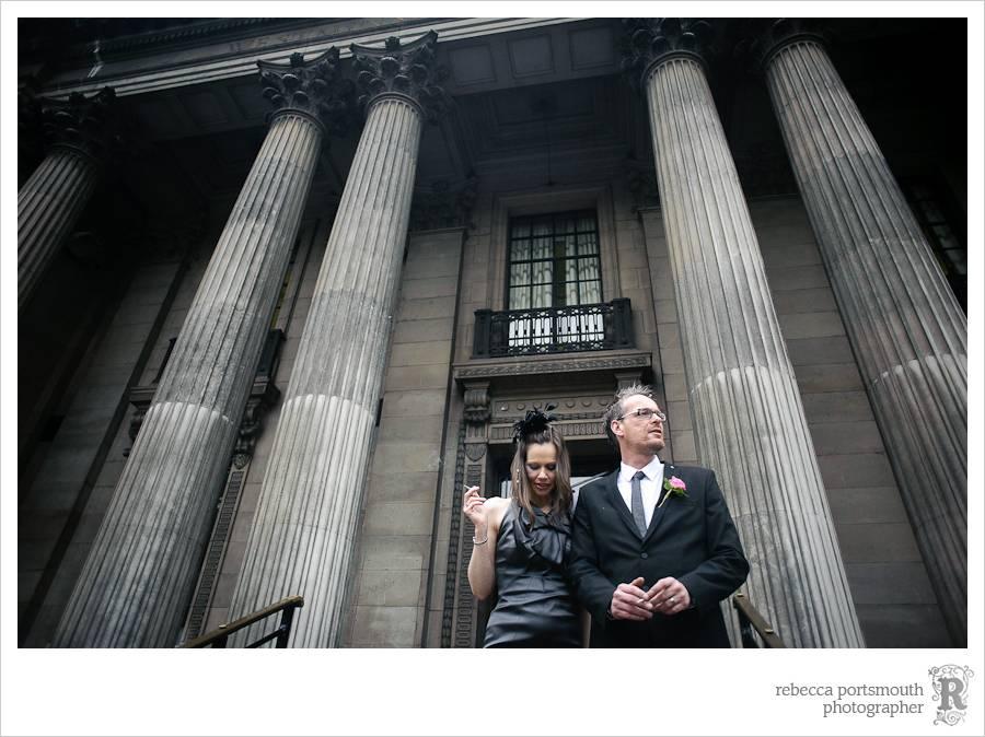 Bride and groom on Westminster Register office steps