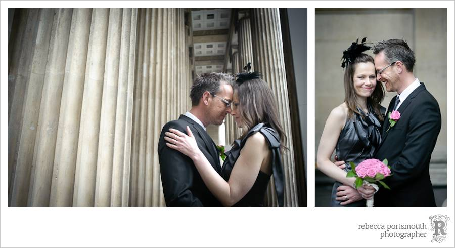 Bride and groom portraits with columns.