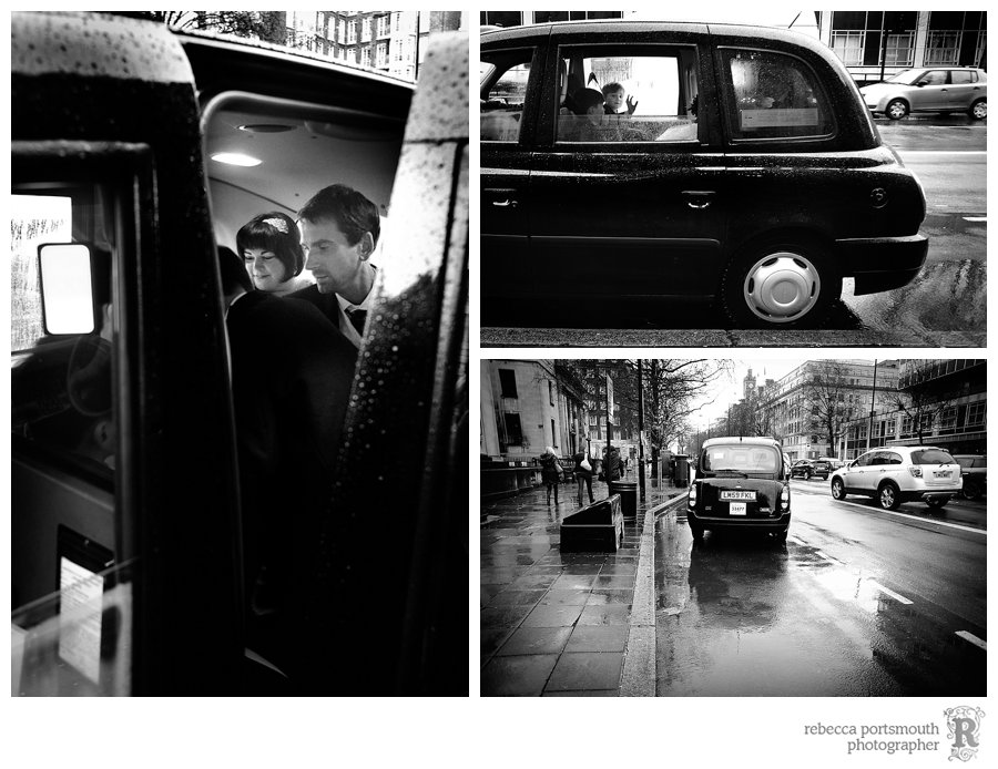 A London black cab (taxi) leaves Westminster Register Office.