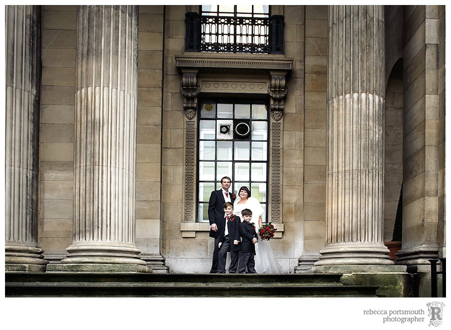 Bride and groom Karen and Matthew on the famous steps of Old Marylebone Town Hall, Westminster, London.