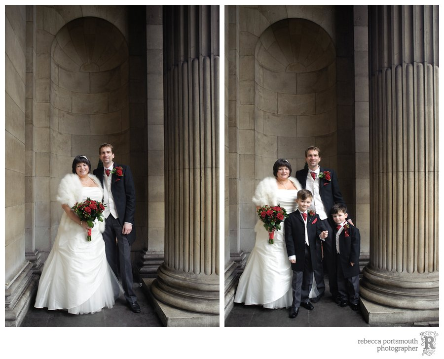 Wedding portraits outside Old Marlebone Town Hall after a civil marriage ceremony.