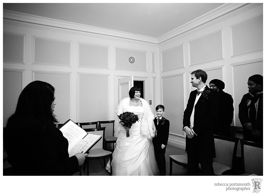The start of Karen and Matthew's wedding at Westminster Register office's Yellow Room.