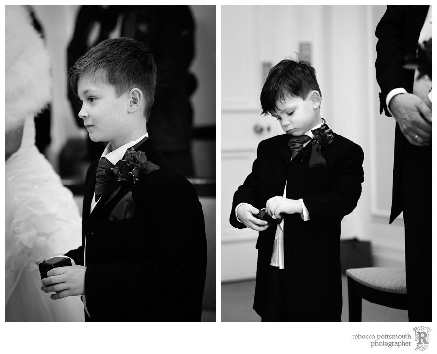 Karen and Matthew's sons hold the rings waiting for the right moment in the wedding ceremony.