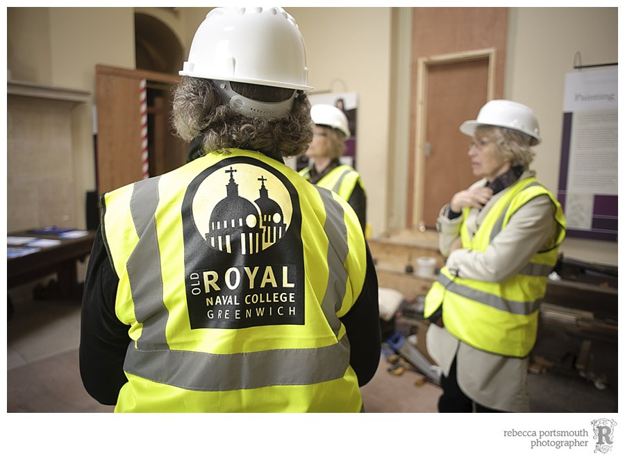 Hard hats and high visibility vests for the Painted Hall scaffolding tour in Greenwich