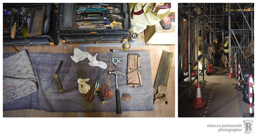 Traditional tools for restoration work.