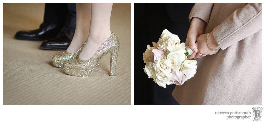 A Scarlet and Violet rose wedding bouquet and glitter gold wedding shoes