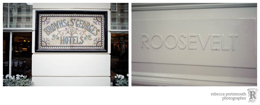 Brown's Hotel Roosevelt Room wedding reception  signs - London Mayfair hotel