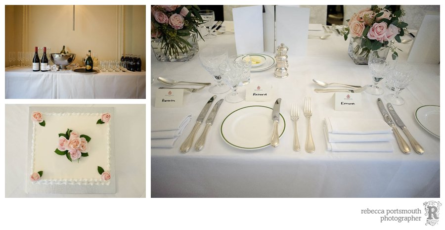 Wedding breakfast and cake with pink tea roses - London hotel private dining room