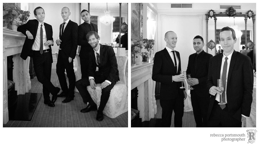 Groom, best man and mates - a portrait at the Roosevelt Room wedding breakfast at  Brown's Hotel
