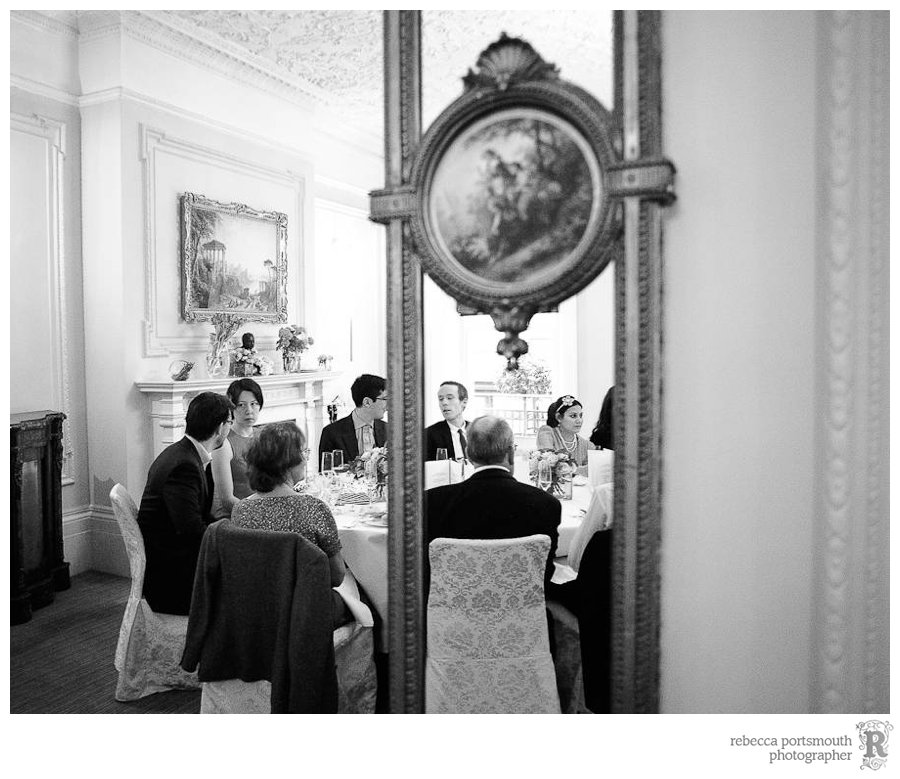 Wedding breakfast reflected in mirrored walls of the Roosevelt Room at Browns Hotel