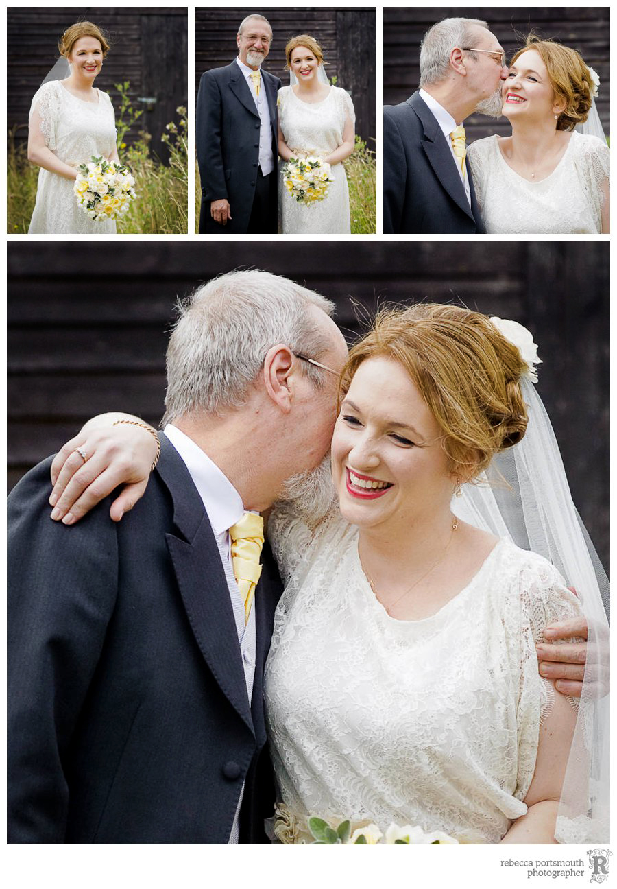 Bride and father have wedding portraits done in 'meadow'