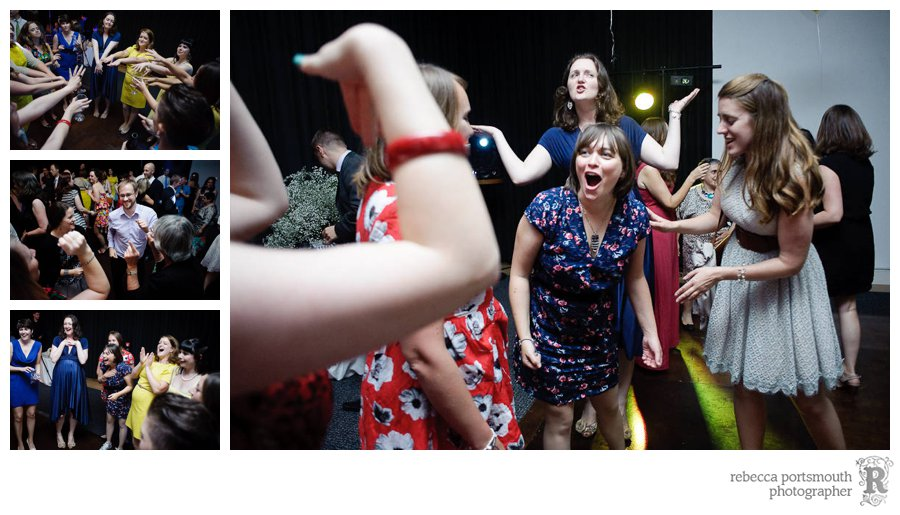 Female wedding guests and hens  hit the dance floor