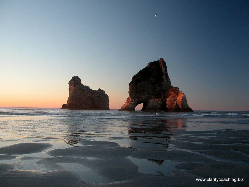 Sunset and Moon Rise with Sentinels - Wharariki Beach - NZ - 2005