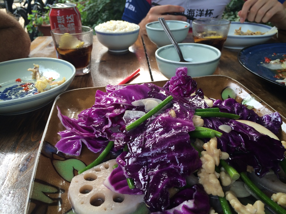 A nice healthy meal lotus root,cabbage,walnut,runner beans.