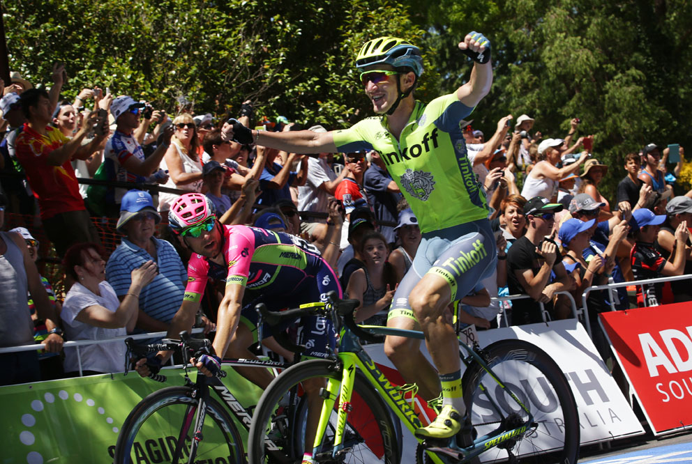 Stage2a-Australian Jay McCarthy(Tinkoff) beats Italian Diego Ulissi (Lampre-Merida) on the Staging Connections Stage 2 finish line.