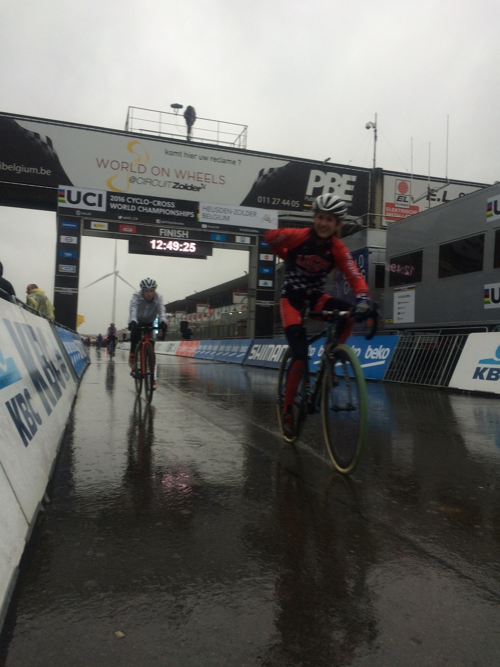 Pouring Rain in the finish line