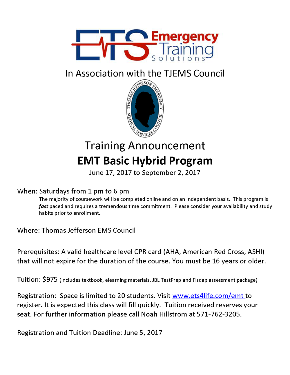 TJEMS Hybrid EMT Program Flyer Summer.png