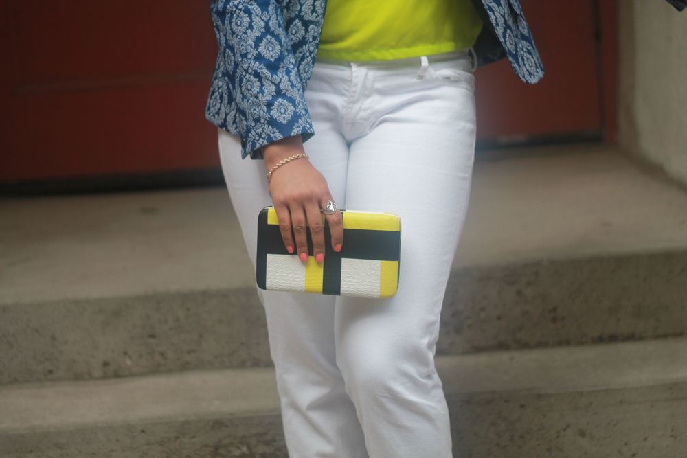 White jeans from TJ Maxx Clutch fromTarget