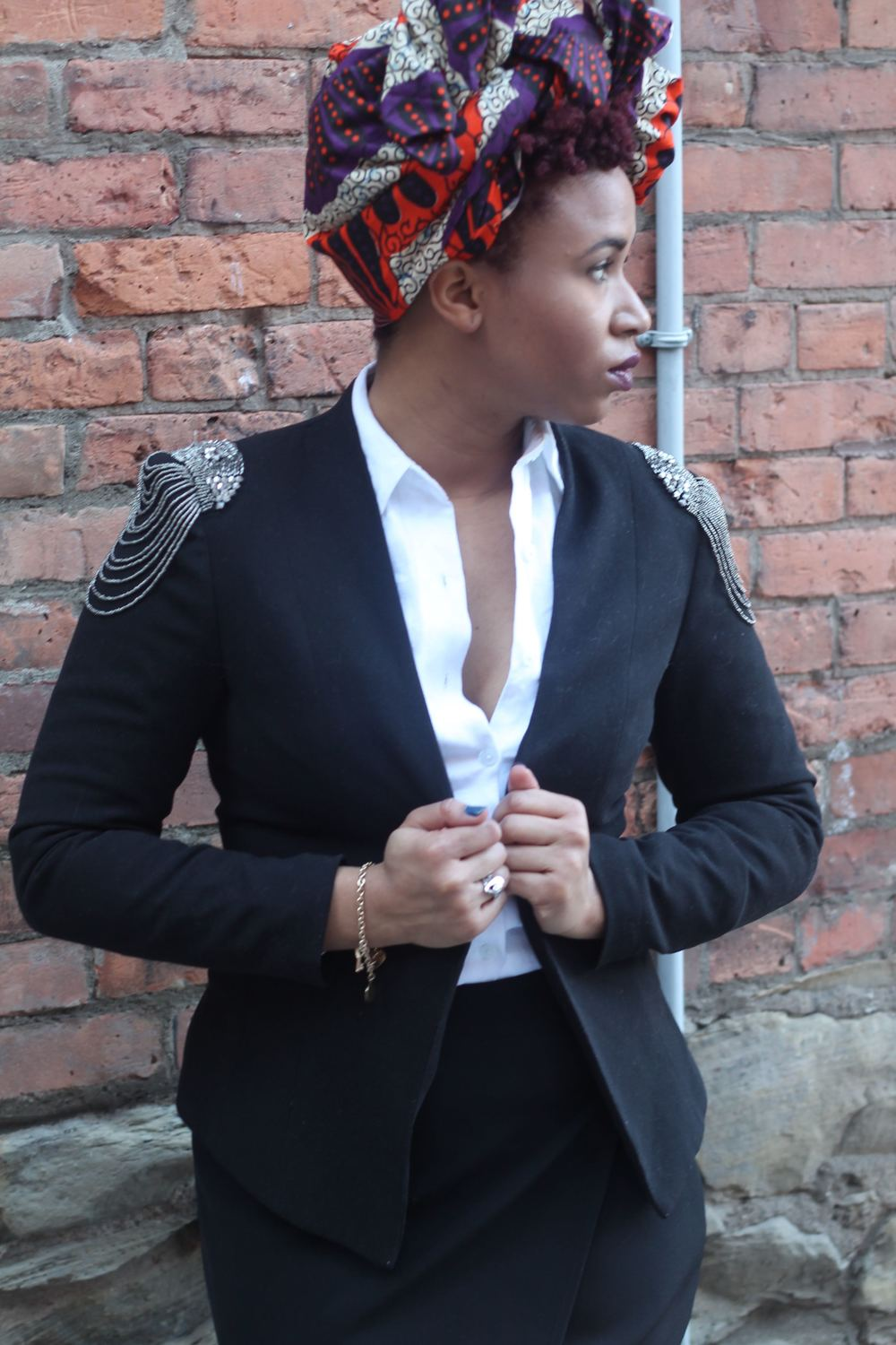 Ankara Print Headwrap and H&M Blazer