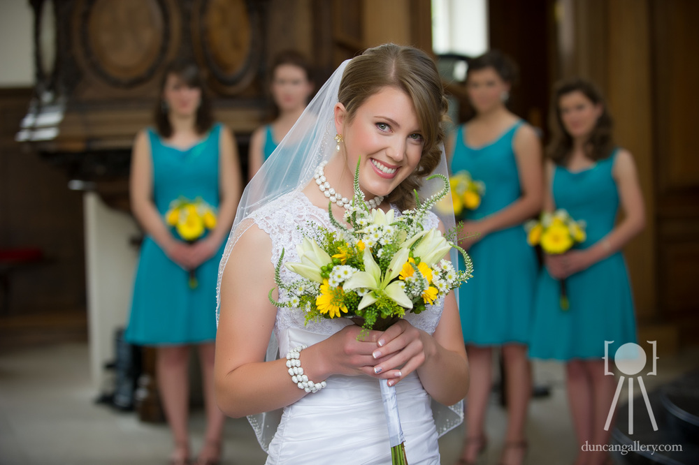 Bride with Bridesmaids in Teal